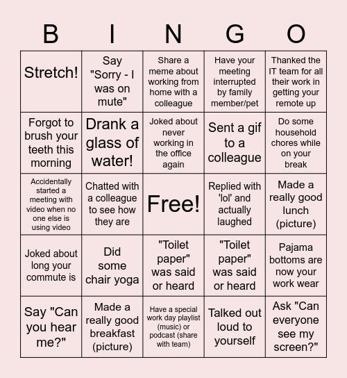 Remote Work Bingo Card