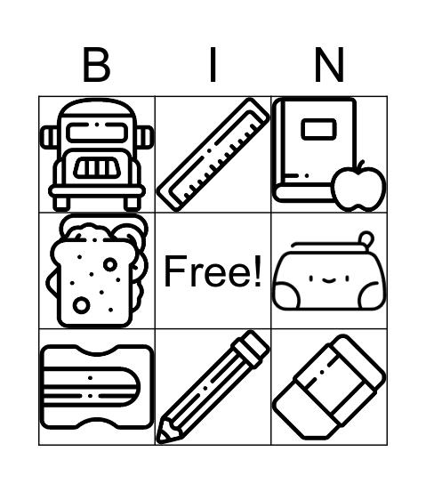 School objects Bingo Card