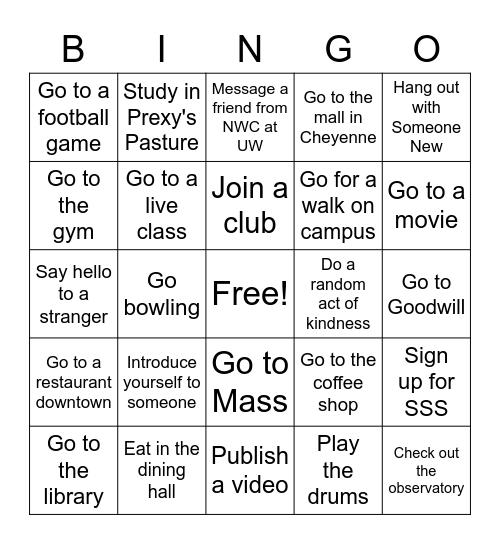 Get to know people BINGO Card