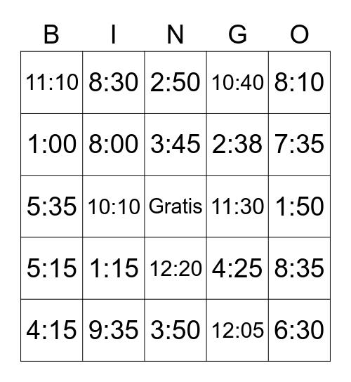 Wie viel Uhr ist es? Bingo Card