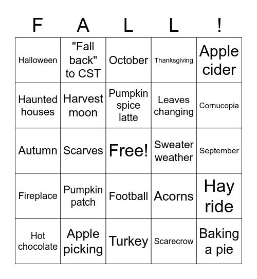 Fall-Themed Bingo! Bingo Card
