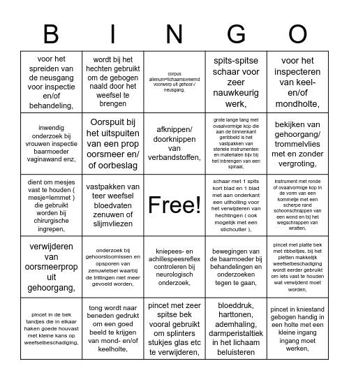 Instrumenten Bingo Card