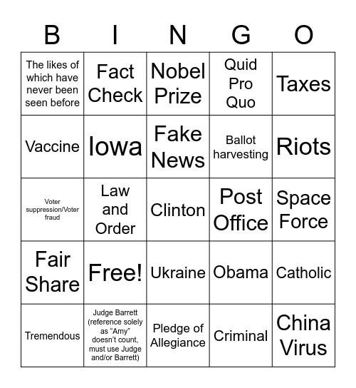 First Presidential Debate Bingo! Bingo Card