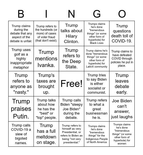 Highly Partisan 2020 Presidential Debate Bingo Card