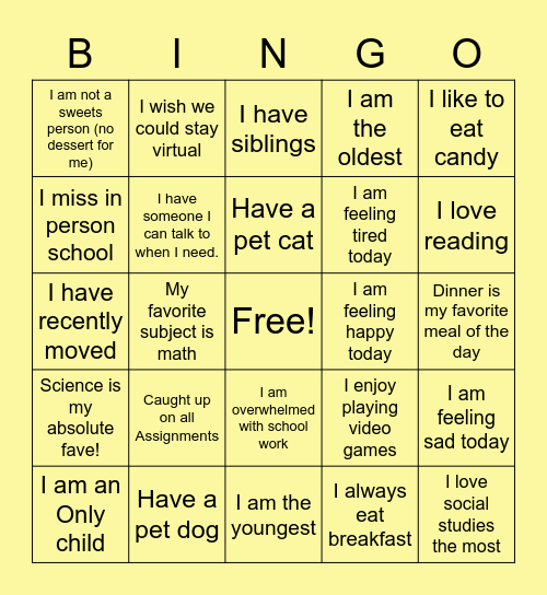 Wednesday Wellness Bingo Card