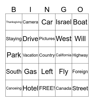 Travel Bingo Card