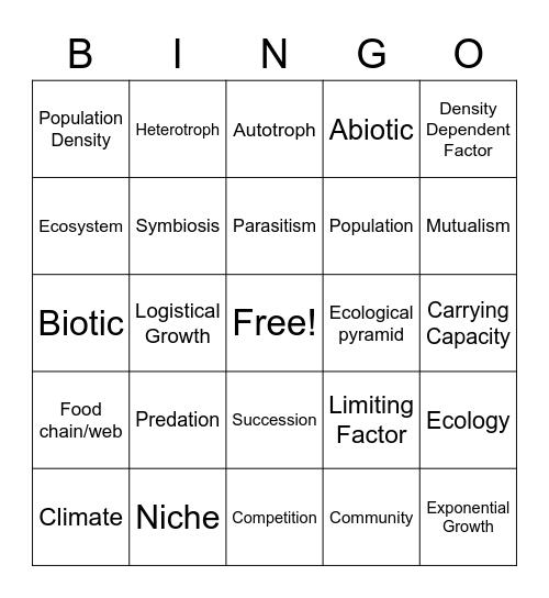 Ecology Review Bingo Card