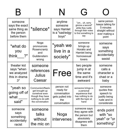 Socratic Seminar Bingo Card