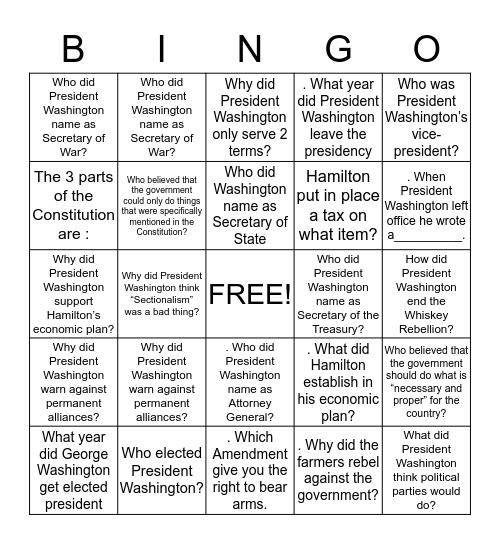 George Washington Amendment  Bingo Card