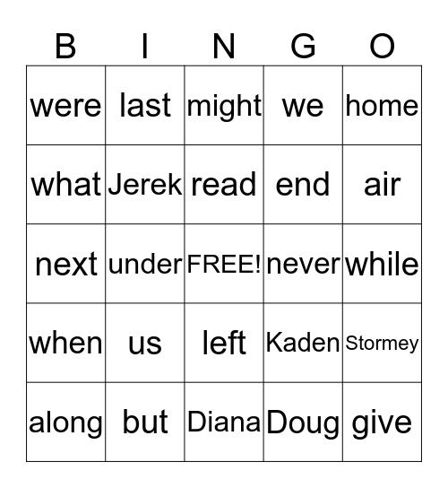 Unit 8 Spelling Bingo Card