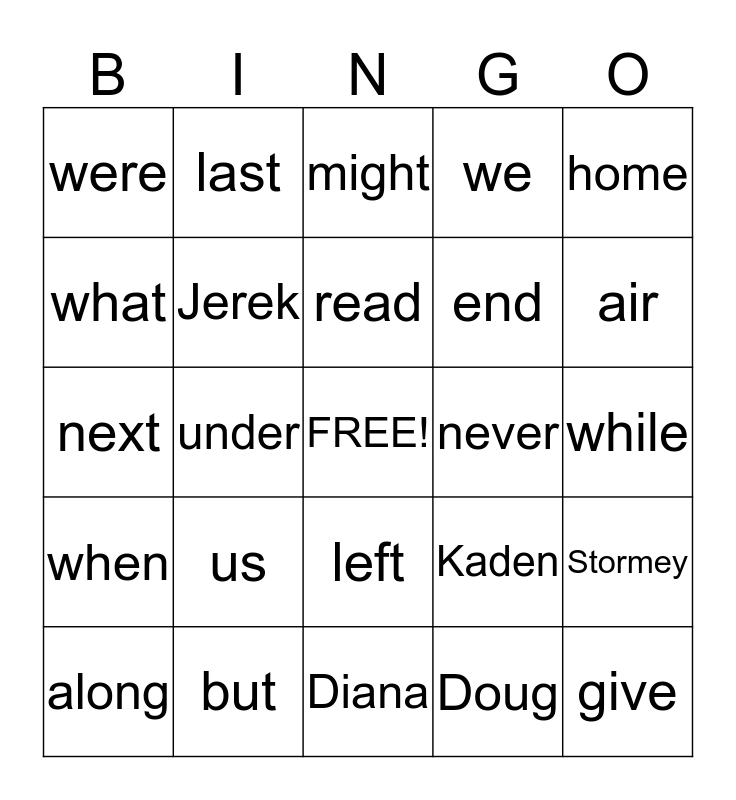 Unit 8 Spelling Bingo Card