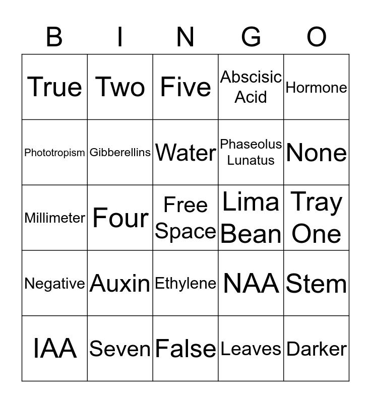 Plant Hormone Bingo Card