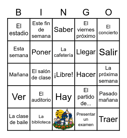 Capítulo 4 --- Vocabulario 2 Bingo Card