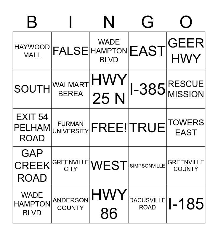 STREET SCHOOL BINGO Card