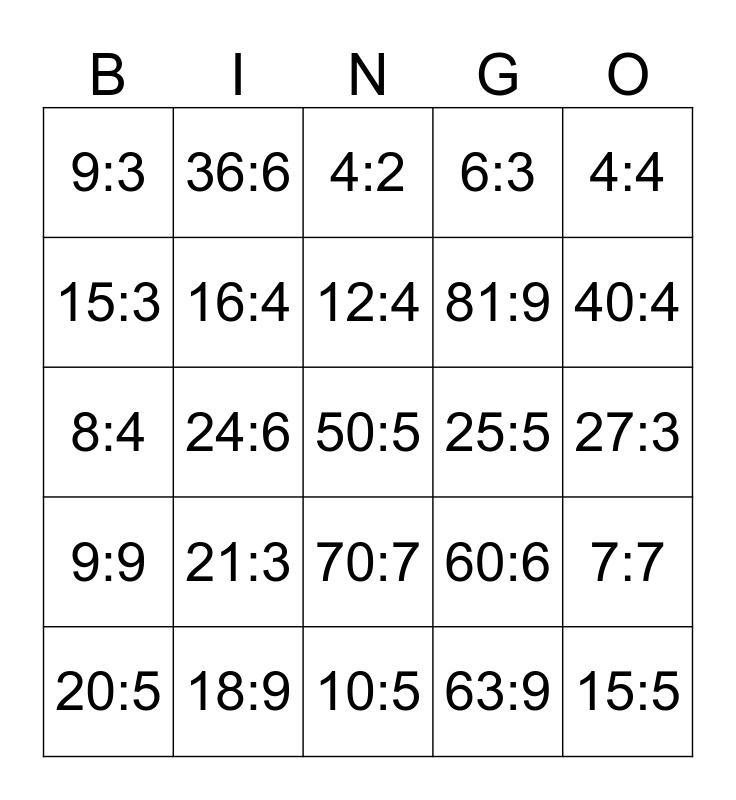Tafelbingo - deeltafels Bingo Card
