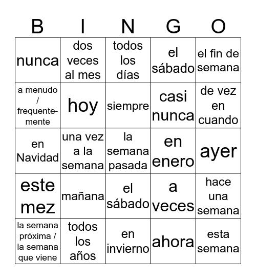 VEZ EXPRESIÓNES Bingo Card