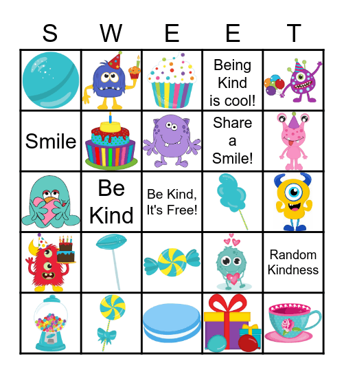 Sweet Bingo Fun Bingo Card