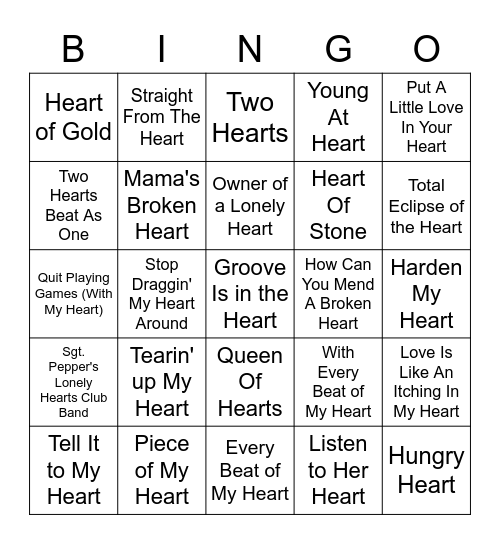 Songs With Heart In The Title Bingo Card