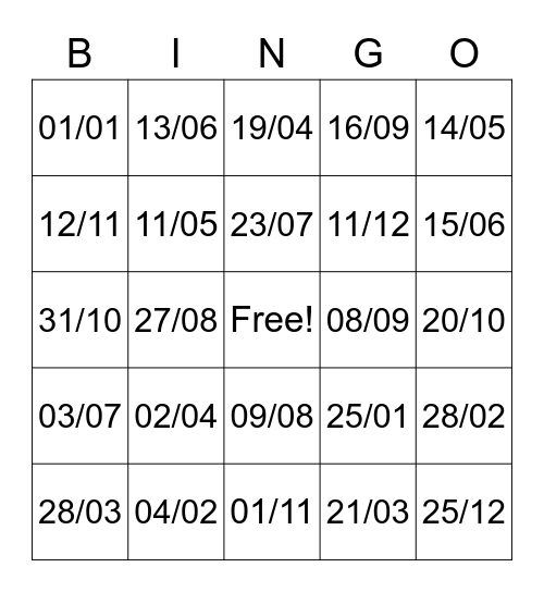 Dates en français Bingo Card