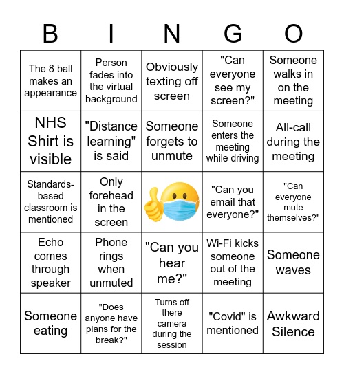 Quality Instruction in a Covid World Bingo Card