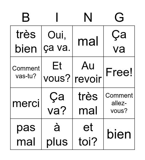 Ça va? Bingo Card