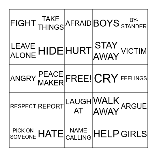 TO BE OR NOT TO BE A BULLY Bingo Card