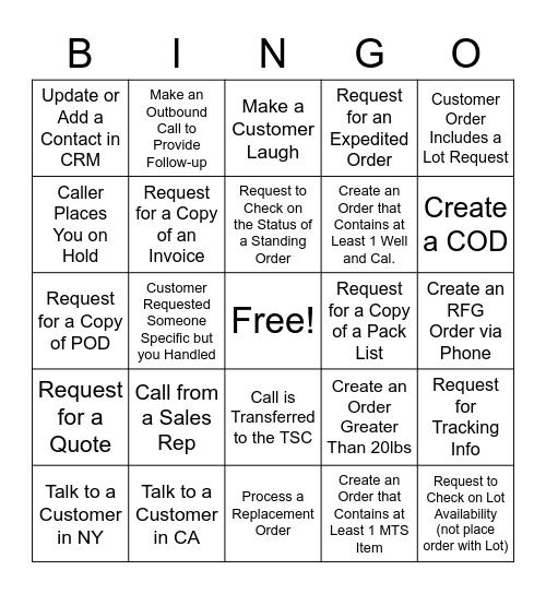 Customer Call BINGO! Bingo Card
