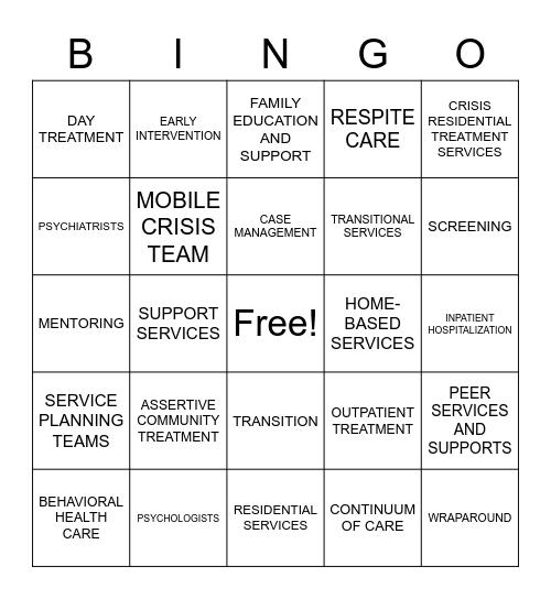 MENTAL HEALTH VOCAB Bingo Card