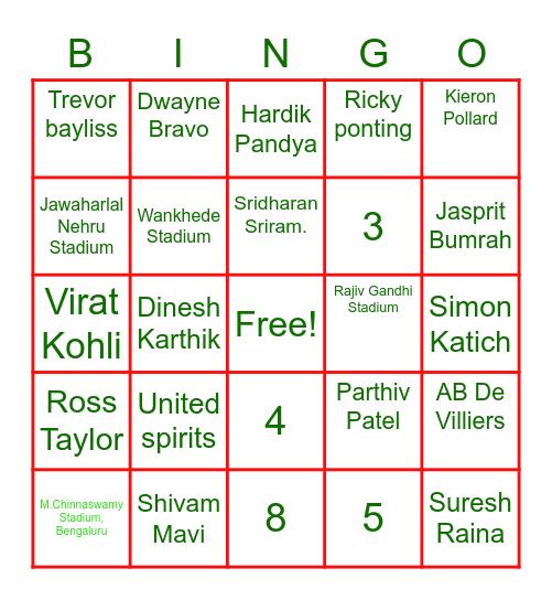 IPL Quiz Bingo Card