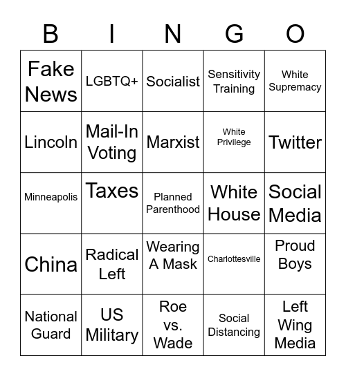 VP DEBATE Bingo Card