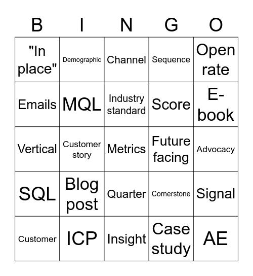 Shush Bingo Card