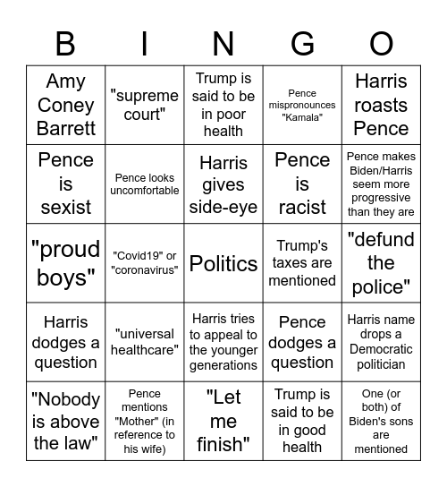 Hopefully this will be less painful? Bingo Card