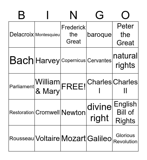 Absolutism & the Age of Reason Bingo Card