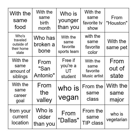 You met someone Bingo Card