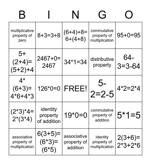 Math Property Bingo Card