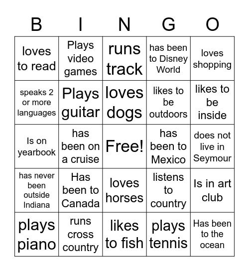 Freshmen Bingo Card