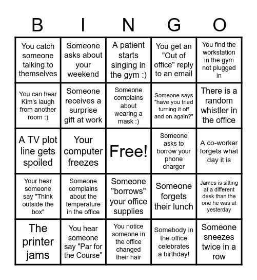 REHAB BINGO 2020 Bingo Card