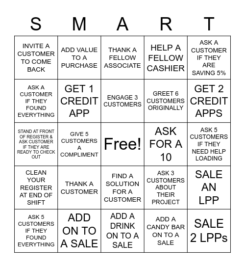 SMART Bingo Card