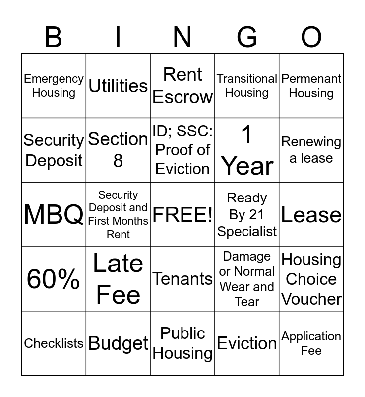 Are you ready for housing?? Bingo Card