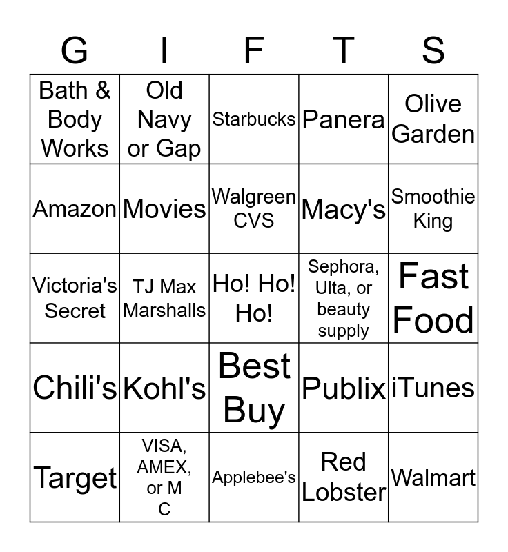 All I Want for Christmas is ... Bingo Card