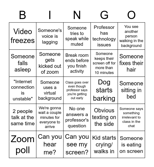 Zoom Class Bingo Card