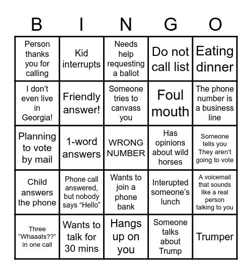 Phone Bank Climate Vote Bingo Card