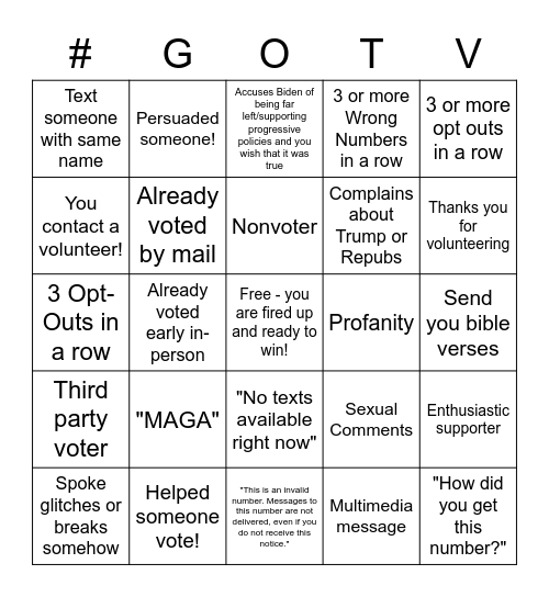 People's Action GOTV Texting Bingo Card