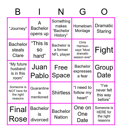 Bachelorette Bingo! Bingo Card