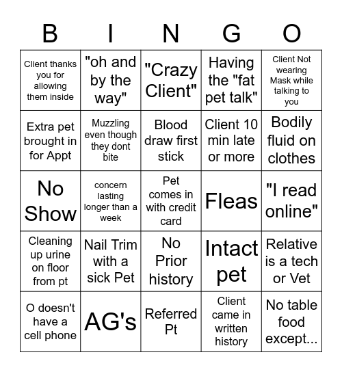 Vet Tech Bingo! Bingo Card