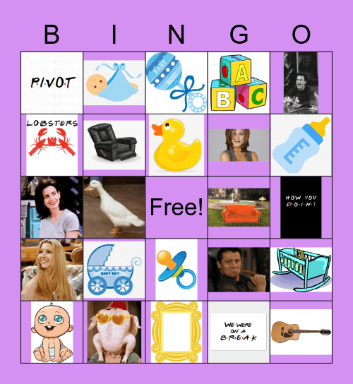 The One Where We Have A Baby Bingo Card