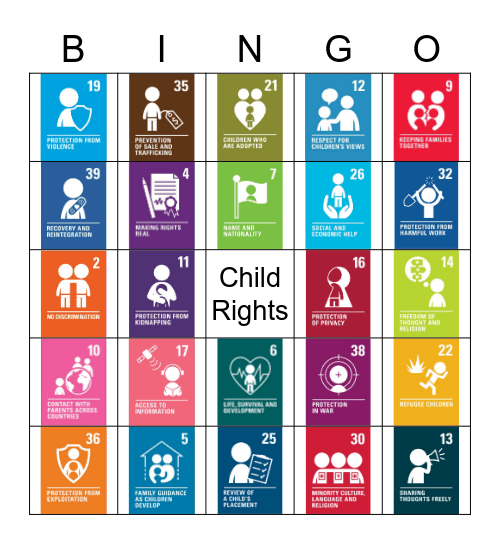 Child Rights (CRC) Bingo Card