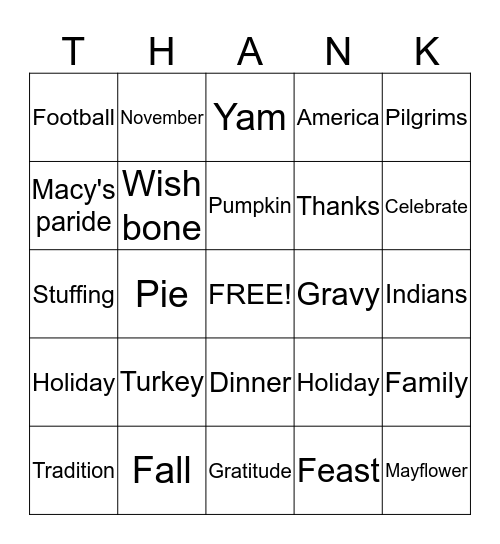Thanksgiving Bingo! Bingo Card