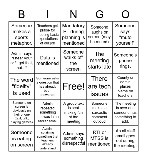 Staff Zoom Meeting Bingo Card