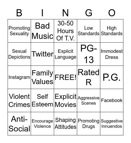 Media/Shaping Attitudes Bingo Card
